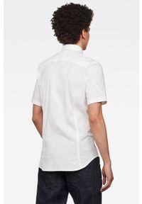 Biała koszula G-Star RAW elegancka, z krótkim rękawem, krótka, z klasycznym kołnierzykiem