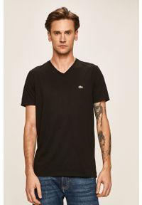 Czarny t-shirt Lacoste casualowy, na co dzień