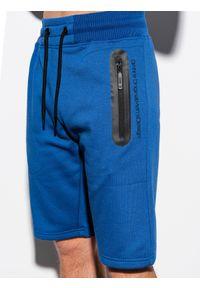 Ombre Clothing - Krótkie spodenki męskie dresowe W239 - niebieskie - XXL. Okazja: na co dzień. Kolor: niebieski. Materiał: dresówka. Długość: krótkie. Wzór: nadruk. Sezon: wiosna, lato. Styl: klasyczny, casual #3