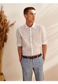 Biała koszula TOP SECRET z długim rękawem, długa, na lato, elegancka