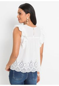 Bluzka z ażurowym haftem bonprix biel wełny. Kolor: biały. Materiał: wełna. Wzór: haft, ażurowy