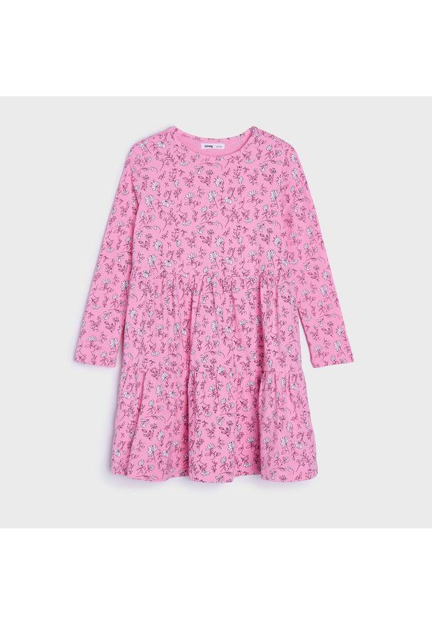 Sinsay - Sukienka z nadrukiem - Różowy. Kolor: różowy. Wzór: nadruk
