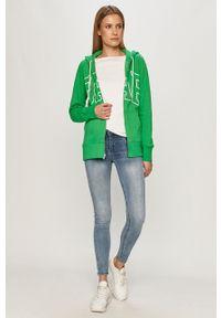 Zielona bluza rozpinana GAP z nadrukiem, casualowa, z kapturem, na co dzień