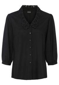 Bluzka z kołnierzykiem z koronki bonprix czarny. Kolor: czarny. Materiał: koronka. Wzór: koronka
