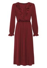 Czerwona sukienka bonprix z dekoltem w serek
