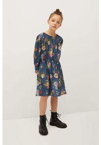 Niebieska sukienka Mango Kids mini, rozkloszowana