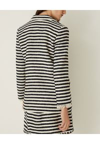 Marella - MARELLA - Marynarka w pasy Vicenza. Kolor: biały. Materiał: bawełna, tkanina, jeans. Sezon: wiosna. Styl: klasyczny