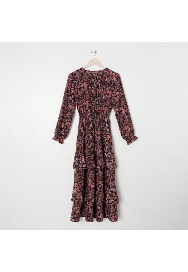 Sinsay - Sukienka maxi w kwiaty - Wielobarwny. Wzór: kwiaty. Długość: maxi