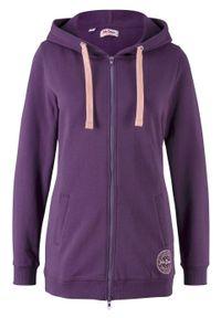 Długa bluza rozpinana bonprix ciemny lila. Kolor: fioletowy. Długość: długie. Wzór: nadruk