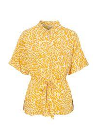 Cellbes Bluzka ze sznurkiem do ściągania w pasie żółty biały female żółty/biały 50/52. Kolor: żółty, biały, wielokolorowy. Materiał: wiskoza. Długość rękawa: krótki rękaw. Długość: krótkie