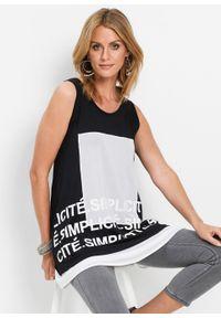Długi shirt bonprix czarno-biały. Kolor: czarny. Materiał: materiał. Długość: długie. Wzór: nadruk