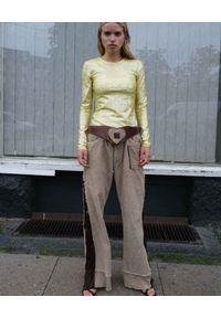 SAKS POTTS - Błyszcząca bluzka z długim rękawem. Kolor: żółty. Materiał: materiał. Długość rękawa: długi rękaw. Długość: długie