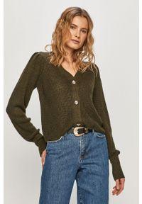 Zielony sweter rozpinany Jacqueline de Yong casualowy, na co dzień
