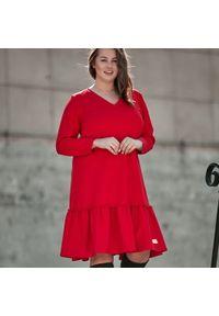 Czerwona sukienka dla puszystych Moda Size Plus Iwanek casualowa, z krótkim rękawem, na jesień