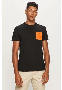 Czarny t-shirt Tommy Jeans casualowy, na co dzień, z nadrukiem