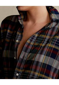 Ralph Lauren - RALPH LAUREN - Sukienka koszulowa w ciemnych kolorach Relaxed fit. Typ kołnierza: polo. Kolor: czerwony. Materiał: bawełna. Długość rękawa: długi rękaw. Wzór: kolorowy. Typ sukienki: koszulowe