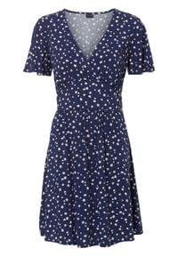 Sukienka w kropki bonprix kobaltowy w kropki. Kolor: niebieski. Wzór: kropki