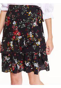 Czarna spódnica TROLL w kwiaty, do pracy, casualowa, na zimę