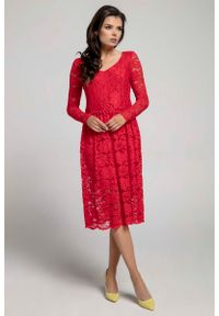 Czerwona sukienka wizytowa Nommo w koronkowe wzory, wizytowa