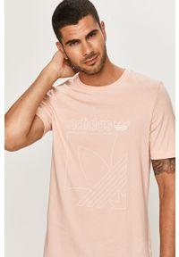 Różowy t-shirt adidas Originals casualowy, na co dzień, z okrągłym kołnierzem, z nadrukiem