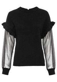 Czarny sweter bonprix elegancki, w koronkowe wzory