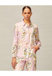 Tory Burch - TORY BURCH - Wzorzysta koszula z jedwabiu. Kolor: wielokolorowy, fioletowy, różowy. Materiał: jedwab. Długość rękawa: długi rękaw. Długość: długie. Wzór: aplikacja, nadruk, kolorowy. Styl: klasyczny, elegancki