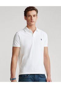 Ralph Lauren - RALPH LAUREN - Koszulka Custom Slim Fit. Typ kołnierza: polo. Kolor: biały. Materiał: jeans, prążkowany, bawełna. Wzór: haft, aplikacja. Sezon: zima, lato. Styl: klasyczny
