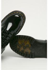 Czarne botki Dr. Martens z okrągłym noskiem, na średnim obcasie, na obcasie, na sznurówki