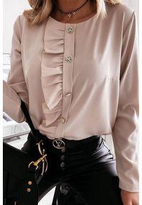 Beżowa bluzka IVET na co dzień, elegancka, z długim rękawem, długa