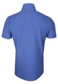 Niebieski t-shirt Chiao z krótkim rękawem, ze stójką, krótki
