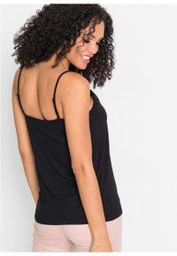 Top na cienkich ramiączkach, z koronką bonprix czarny. Kolor: czarny. Materiał: koronka. Długość rękawa: na ramiączkach. Wzór: koronka