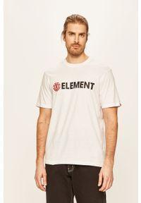 Biały t-shirt Element casualowy, z nadrukiem, z okrągłym kołnierzem