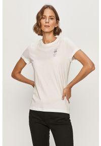 Biała bluzka casualowa, na co dzień, z nadrukiem