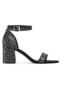 Czarne sandały Jenny Fairy na średnim obcasie, casualowe