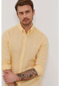 Żółta koszula Strellson button down, casualowa, długa, na co dzień