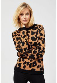 Sweter MOODO długi, z motywem zwierzęcym, klasyczny