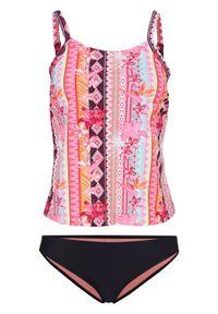 Różowy strój kąpielowy bonprix z wyjmowanymi miseczkami, z nadrukiem