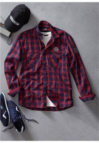 Niebieska koszula bonprix długa, z nadrukiem, z długim rękawem