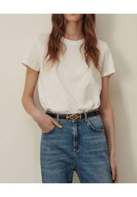Marella - MARELLA - Biały t-shirt Polis. Okazja: na co dzień. Kolor: biały. Materiał: bawełna, jeans. Styl: casual