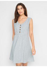 Sukienka lniana z plisą guzikową bonprix niebieski dżins - biel wełny w paski. Typ kołnierza: dekolt w serek. Kolor: niebieski. Materiał: len, wełna. Długość rękawa: bez rękawów. Wzór: paski