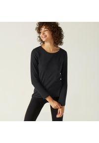 NYAMBA - Koszulka z długim rękawem fitness. Kolor: czarny. Materiał: materiał, bawełna, elastan. Długość rękawa: długi rękaw. Długość: długie. Sport: fitness