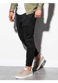 Ombre Clothing - Spodnie męskie joggery P885 - czarne - XXL. Kolor: czarny. Materiał: bawełna, elastan. Styl: klasyczny