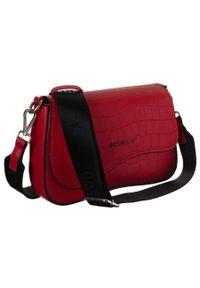 Czerwona torebka DAVID JONES na ramię, skórzana