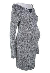 Sukienka dzianinowa ciążowa z kapturem z podszewką bonprix czarno-biały melanż. Typ kołnierza: kaptur. Kolekcja: moda ciążowa. Kolor: czarny. Materiał: dzianina. Wzór: melanż