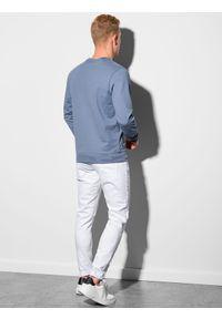 Ombre Clothing - Bluza męska bez kaptura B1153 - niebieska - XXL. Typ kołnierza: bez kaptura. Kolor: niebieski. Materiał: bawełna, jeans, poliester. Styl: klasyczny, elegancki