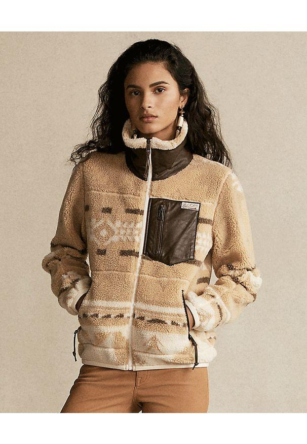 Ralph Lauren - RALPH LAUREN - Wzorzysta bluza. Kolor: brązowy. Materiał: jeans, polar. Długość rękawa: długi rękaw. Długość: długie. Sezon: wiosna. Styl: klasyczny