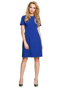 Niebieska sukienka wizytowa MOE z dekoltem na plecach, wizytowa