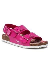 Różowe sandały Pepe Jeans na co dzień, casualowe