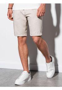 Ombre Clothing - Krótkie spodenki męskie casual W243 - jasnobeżowe - XXL. Okazja: na co dzień. Kolor: beżowy. Materiał: bawełna, elastan. Długość: krótkie. Sezon: lato. Styl: casual