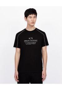 Armani Exchange - ARMANI EXCHANGE - Czarny T-shirt z kontrastowymi elementami. Okazja: na co dzień. Kolor: czarny. Materiał: jeans, bawełna. Wzór: nadruk. Styl: casual, klasyczny